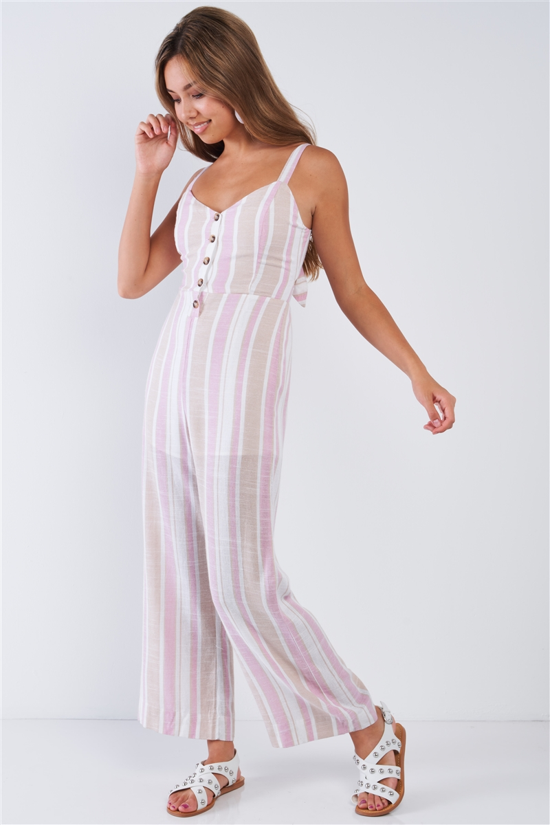 White Rose Taupe Striped Button Up Wide Leg Sleeveless Linen Jumpsuit