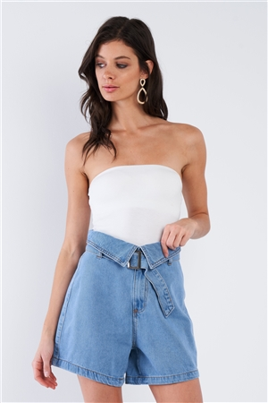 Light Denim Blue Collared High Waisted Attached Belt Jean Shorts