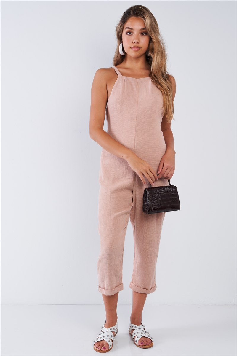 Dusty Rose Square Neck High Capri Pant Jumpsuit