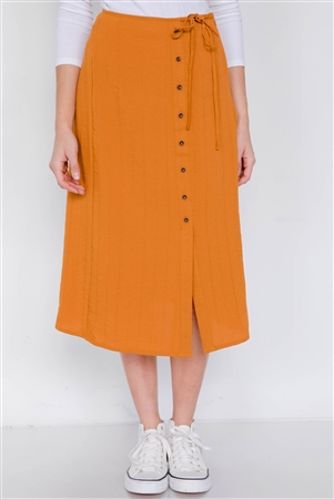 Rust Side Button Mock Wrap Mini Slit Office Chic Midi Skirt