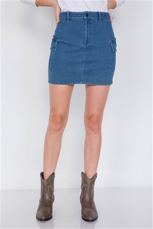 Denim Blue Vintage Washed Chic Cargo Pockets Mini Skirt