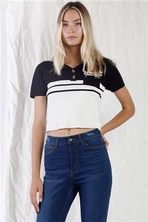 Navy & White Color Block Crop Polo Short Sleeve T-Shirt