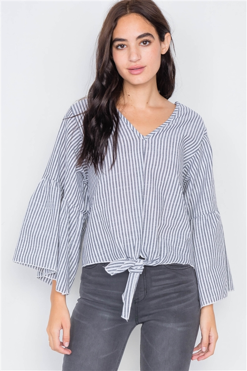 Grey & White Stripe V-Neck Cotton Bell Sleeve Top