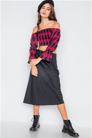 Red Plaid Ruched Off-The-Shoulder Tiered Bell Sleeve Crop Top