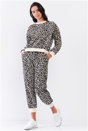 Ivory & Black Leopard Oversized Rib Cuff Round Neck Long Sleeve Top High Waisted Jogger Pants Set /3-2-1