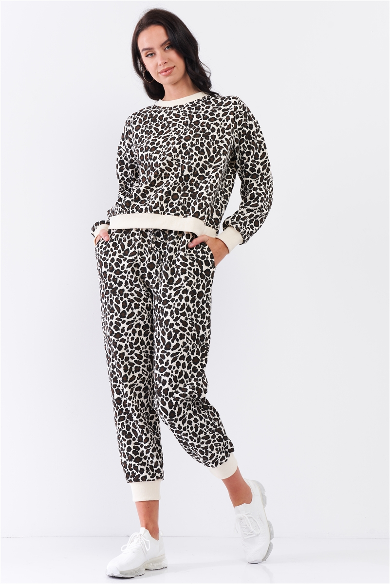 Ivory & Black Leopard Oversized Rib Cuff Round Neck Long Sleeve Top High Waisted Jogger Pants Set /3-1-1