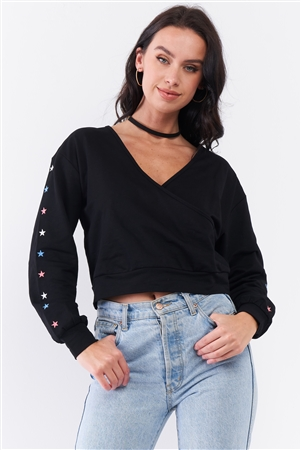 Black Star Embellished Long Sleeve Wrap V-Neck Crop Sweatshirt /3-2-1