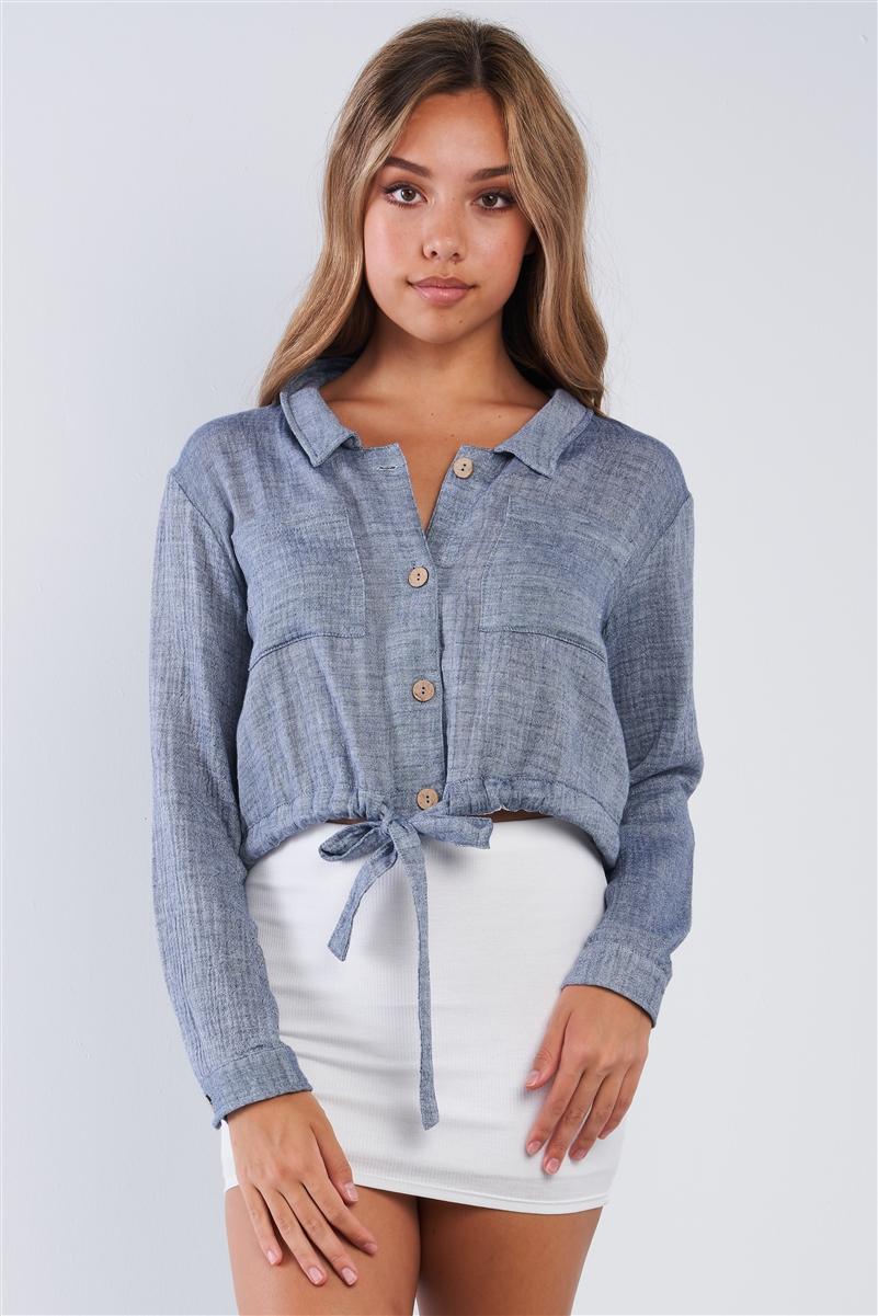 Soft Denim Colored Cropped Collared Long Sleeve Button Up Draw String Waist Tie