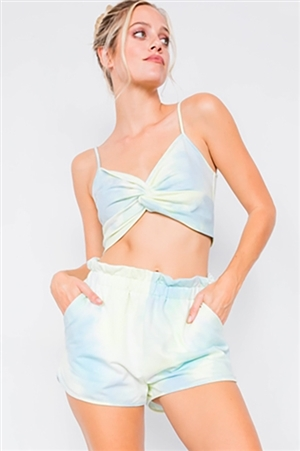 Neon Mint Tie Dye Front Twist Crop Top & High Waist Chic Flounce Short Set
