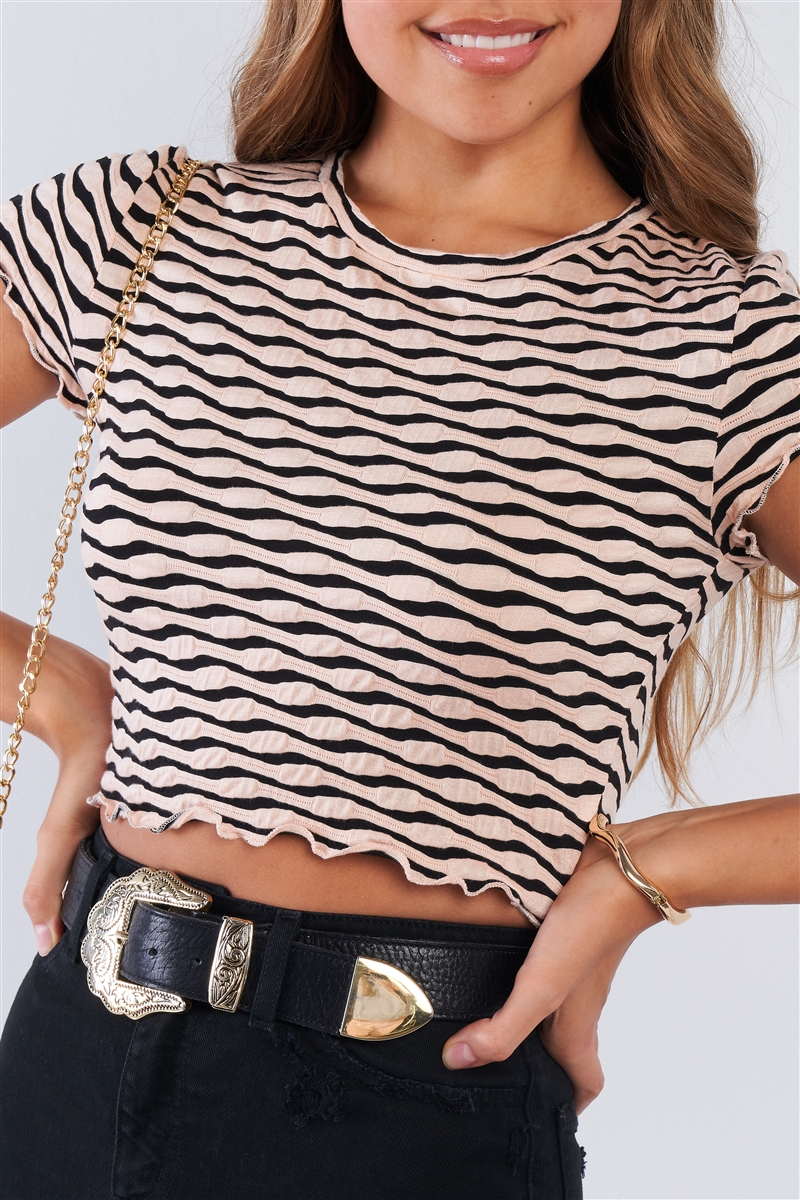Blush & Black Textured Retro Striped Ruffled Hem Crop Tee