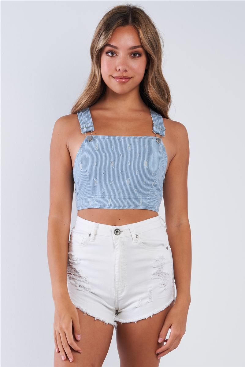 Light Denim White Striped Overall Cropped Top