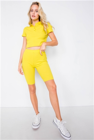 Neon Yellow Athletic Short Sleeve Polo Ribbed Crop Top & Biker Short Set