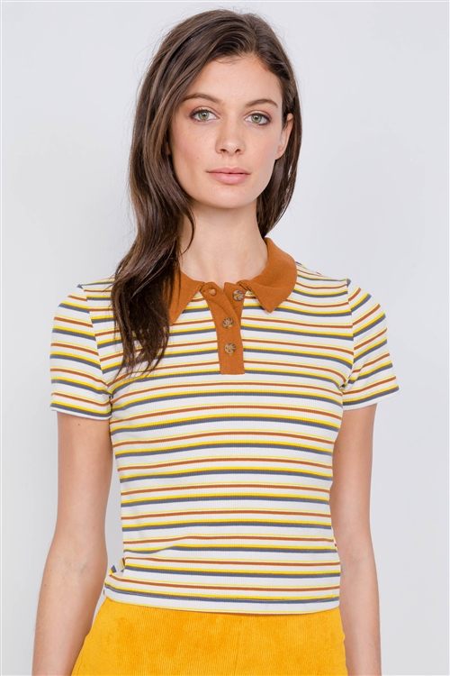 Camel Combo Stripe Crop Polo Short Sleeve T-Shirt