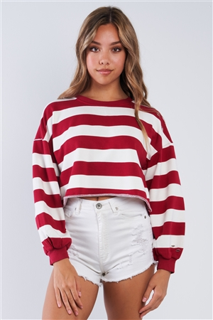 White & Red Striped Cropped Crew Neck Sweater