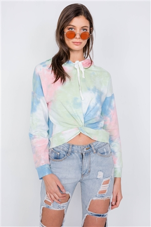 Tie Dye Front Rolled Knot High-Low Cotton Hoodie