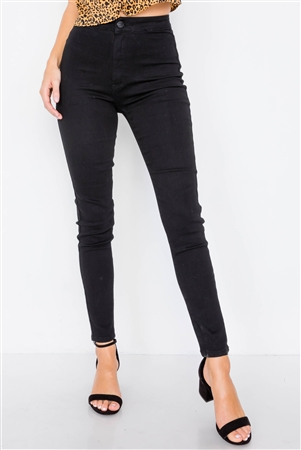 Solid Vintage High-Waist Basic Black Cotton Jeans