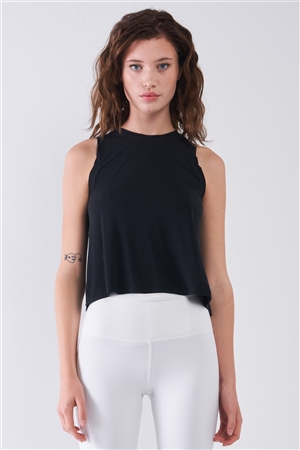 Black Sleeveless Crew Neck Ribbed Split Back Top /1-2-2-1
