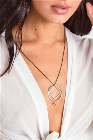 Black Gold Geometric Cut Out Pendant Necklace