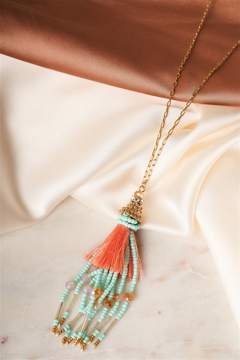 Celeste Peach Mixed Beads Tassel Pendant Necklace