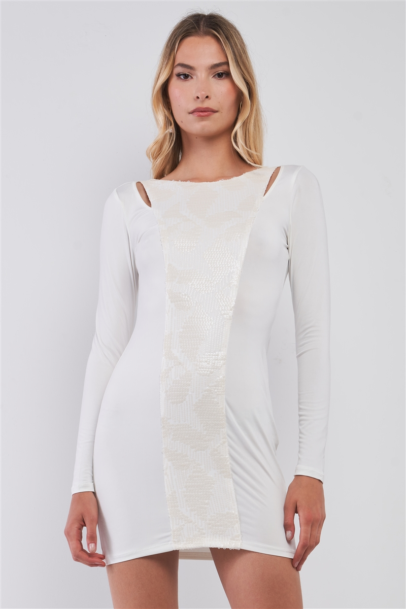 White Sequined Midi Dress