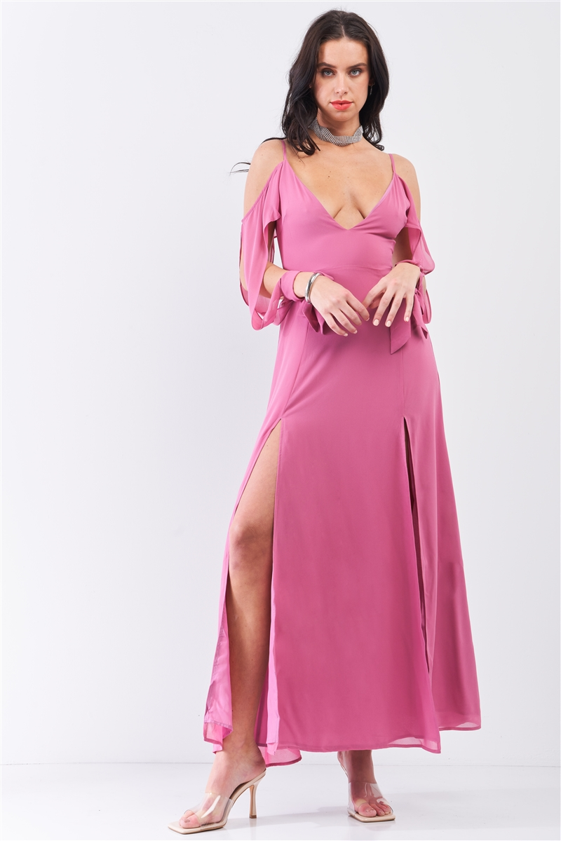 Thulian Pink Off-The-Shoulder Cut-Out Long Sleeve Deep Plunge V-Neck Slit Detail Maxi Dress /1-2-1-1-1