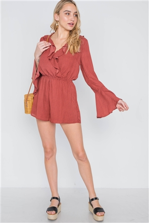 Rust Black Surplice Neck Long Sleeve Romper