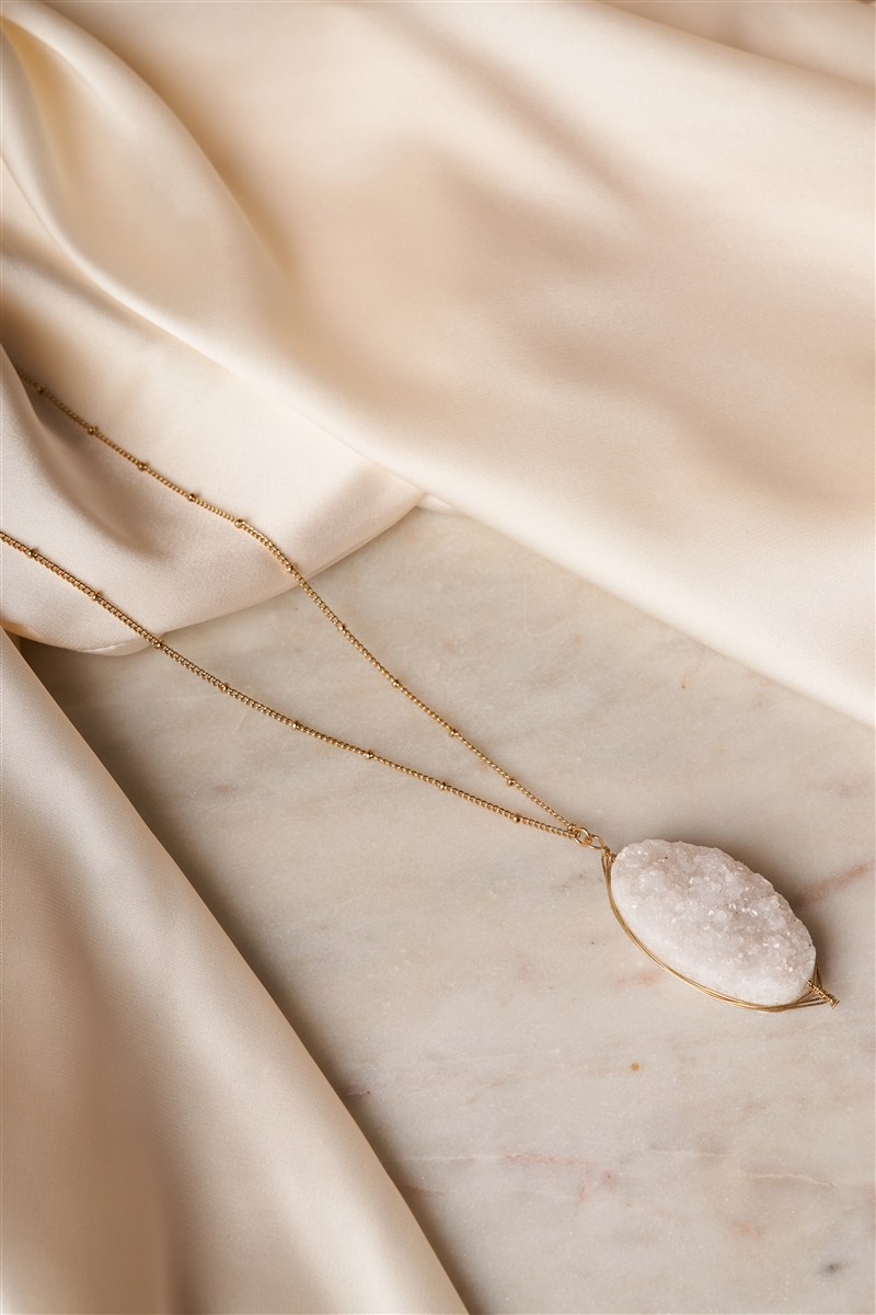 Gold White Sparkling Druzy Stone Pendant Necklace