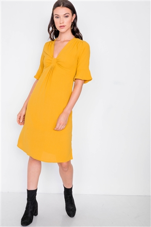 Mustard Front Pleated Bow Midi Low Side Slit Dress