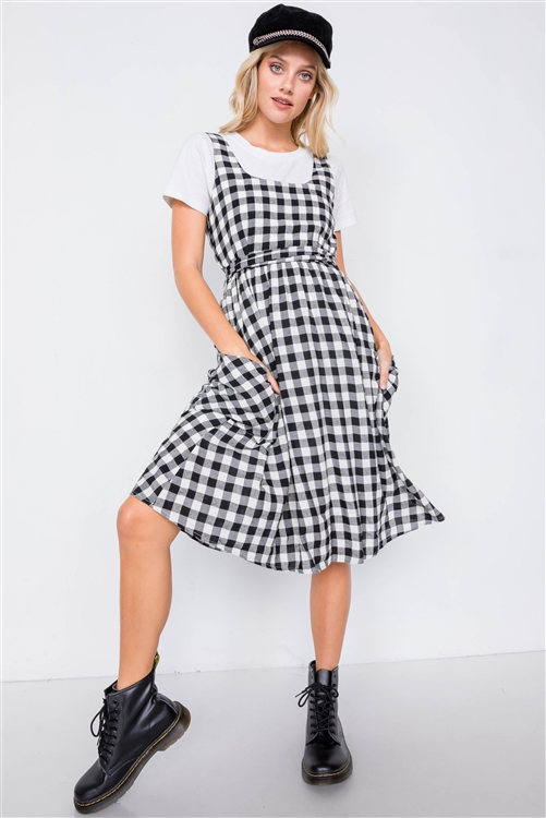 Black Scoop Neck Side Pockets Checkered Gingham Midi Dress