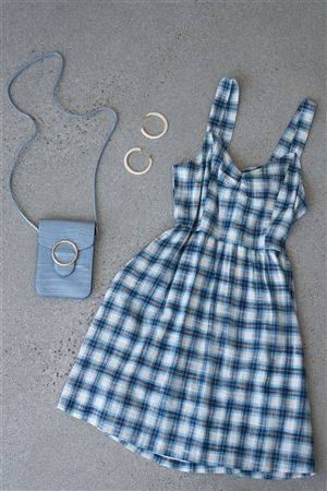 Blue Plaid Stripe Cut Out Back Bow Midi Sundress