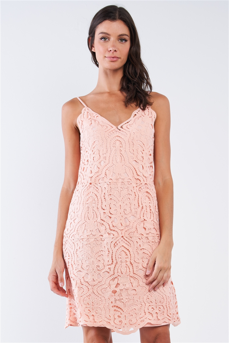 Blush Me Tender Pink Crochet Sleeveless V-Neck Relaxed Fit Mini Dress