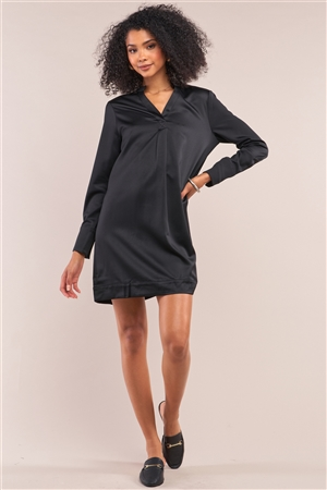 Jet Black Satin V-Neck Long Sleeve Relaxed Fit Shirt Dress /1-2-1
