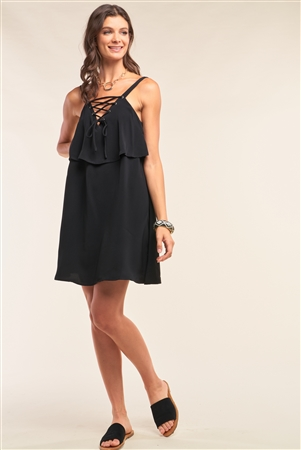 Black Sleeveless Lace-Up Detail V-Neck Layered Mini Dress /1-2-2