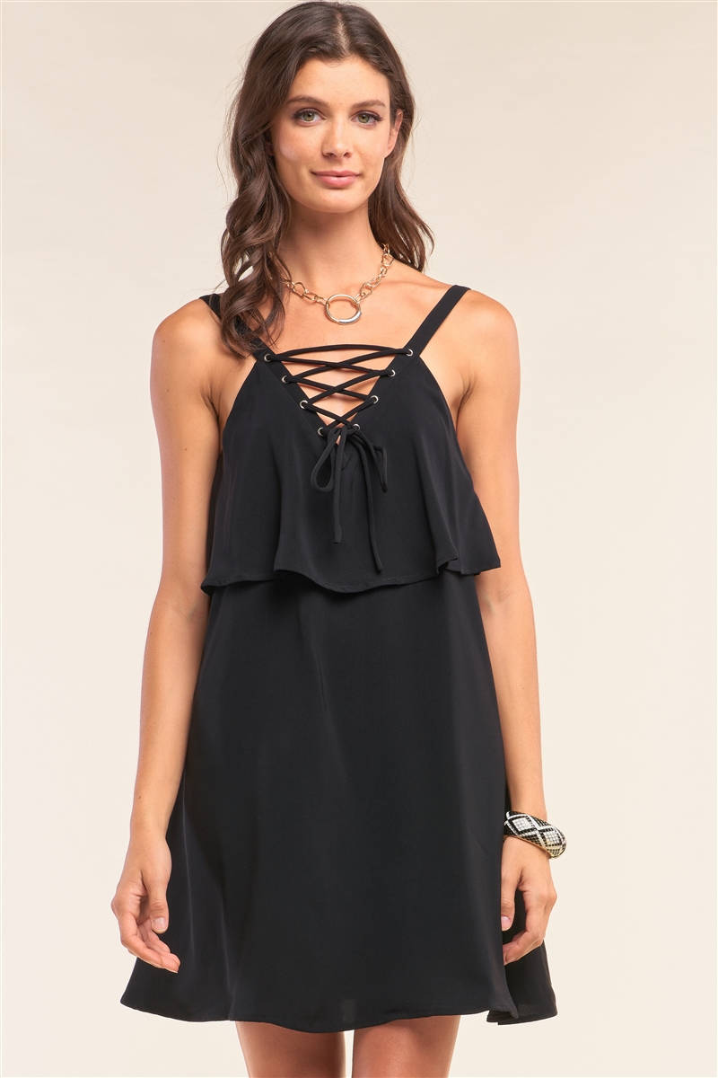 Black Sleeveless Lace-Up Detail V-Neck Layered Mini Dress /1-2-2-1