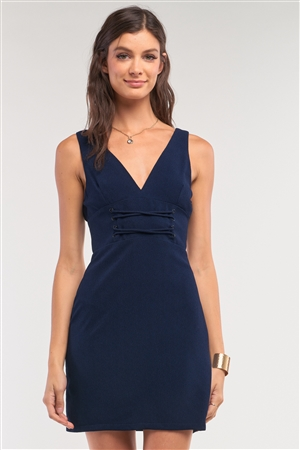 Navy V-Neck Corset Lace-Up Waist Detail Sleeveless Fitted Mini Dress /1-2-2-1