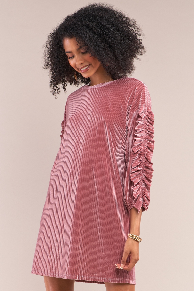 Coral Pink Velvet Ribbed Ruffle Trim Detail Sleeve Crew Neck Tunic Mini Dress /1-1-2-1