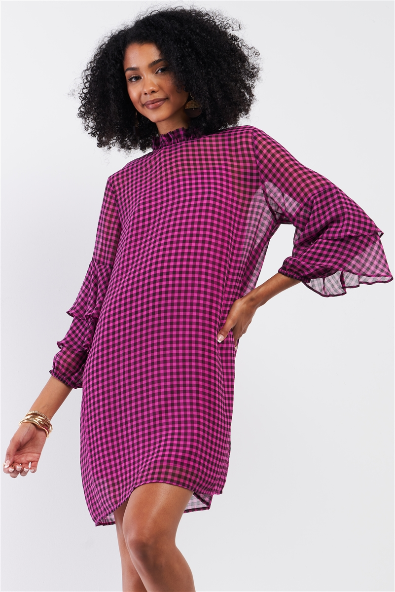 Black & Pink Checkered Print Relaxed Frill Mock Neck Layered Flare Sleeve Detail Mini Dress /2-2-2