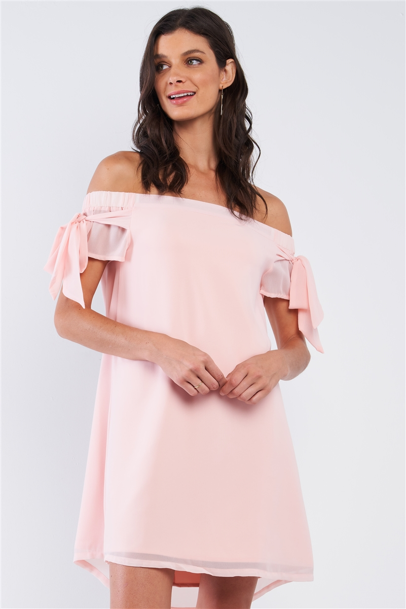 Peach Pink Loose Fit Off-The-Shoulder Self-Tie Bow Sleeve Cut Out Back Detail Tunic Mini Dress /1-2-2-1