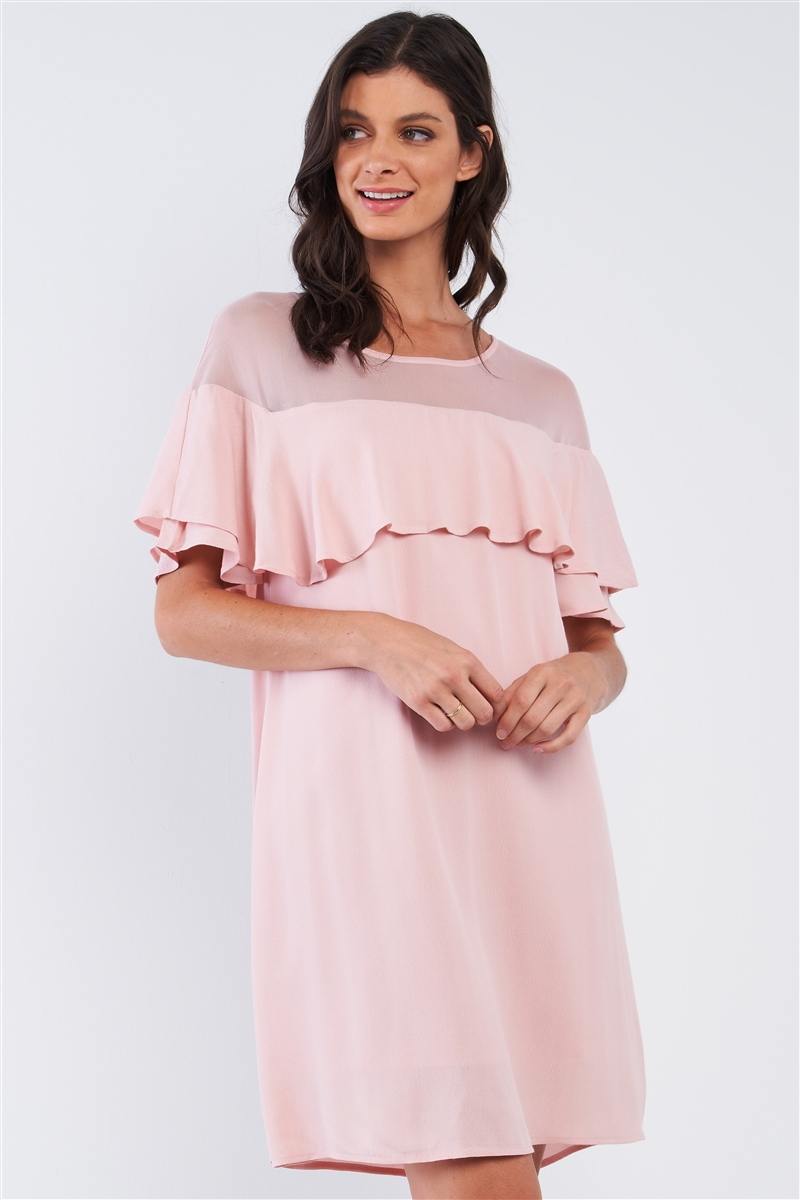 Dusty Pink Loose Fit Chest Lace Mesh Detail Ruffle Off-The-Shoulder Hem Mini Dress /1-2-2-1