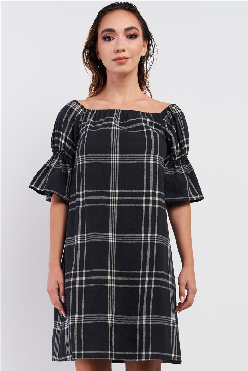 Washed Black Plaid Print Square Neck Puff Sleeve Relaxed Mini Dress /3-3