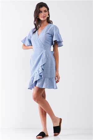 Blue & White Striped Deep Plunge V-Neck Ruffle Hem Self-Tie Waist Wrap Mini Dress /2-2