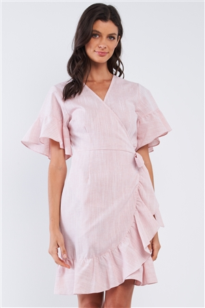 Pastel Pink Deep Plunge V-Neck Ruffle Hem Self-Tie Waist Wrap Mini Dress