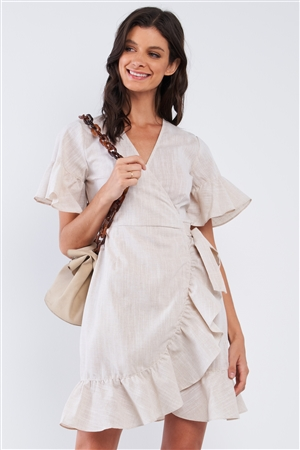 Tan Beige Deep Plunge V-Neck Ruffle Hem Self-Tie Waist Wrap Mini Dress