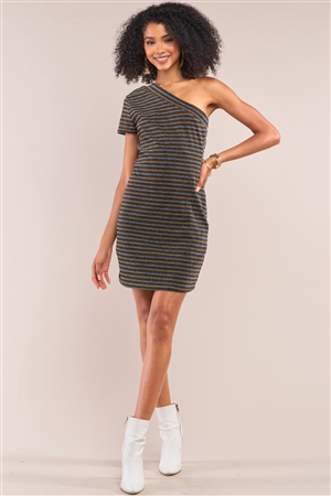 Multi Color Disco Striped One-Shoulder Short Sleeve Fitted Mini Dress /1-2-2-1