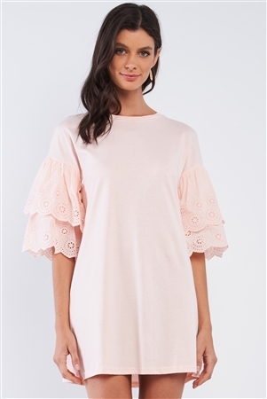 Powder Pink Cotton Loose Fit Crew-Neck Tunic Mini Dress With Layered Crochet Embroidered Scalloped Hem Sleeve