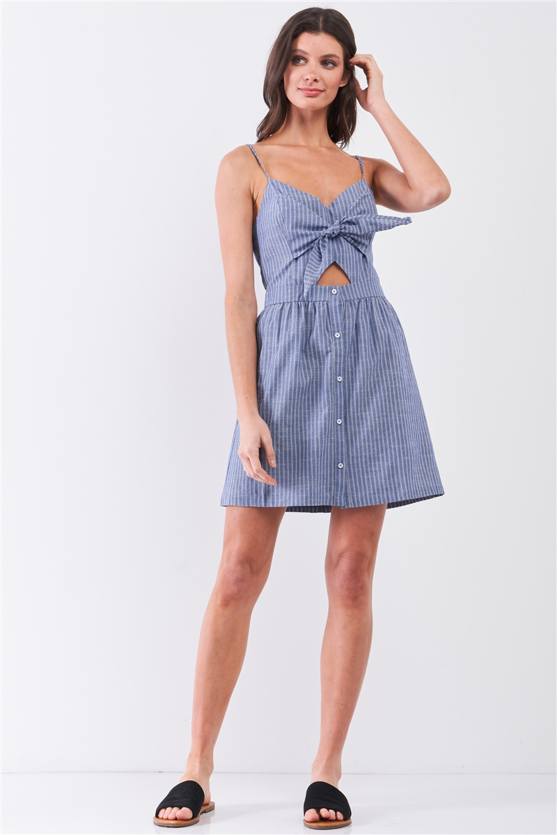 Blue & White Striped Sleeveless V-Neck Self-Tie Front Cut-Out Detail Mini Dress /1-1-2