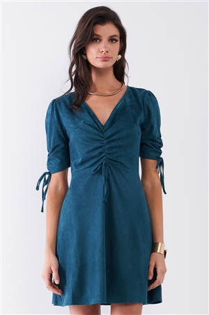 Emerald Green Suede Deep Plunge V-Neck Gathered Detail Tight Fit Mini Dress /1-1-2-1-1