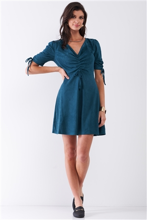 Emerald Green Suede Deep Plunge V-Neck Gathered Detail Tight Fit Mini Dress /2-2-2