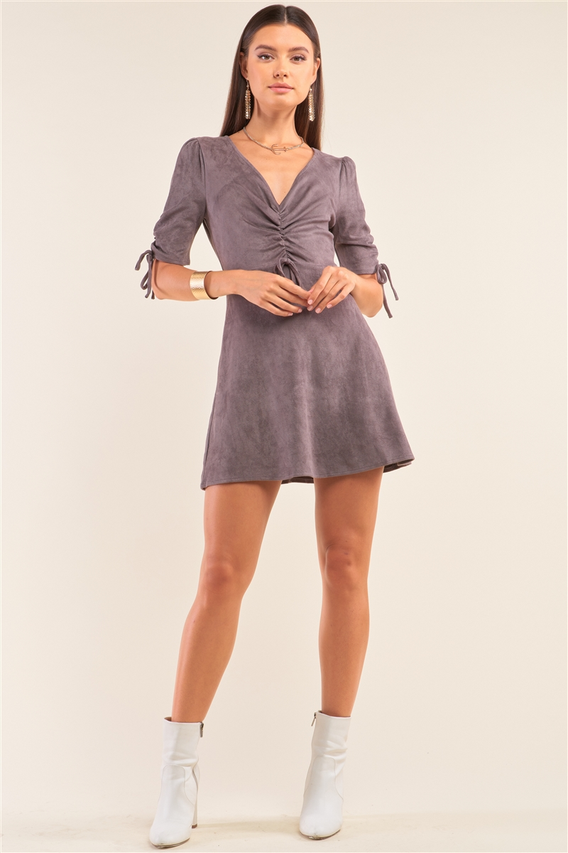 Charcoal Grey Suede Deep Plunge V-Neck Gathered Detail Tight Fit Mini Dress /1-2-1