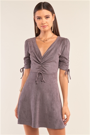 Charcoal Grey Suede Deep Plunge V-Neck Gathered Detail Tight Fit Mini Dress /1-2-2-1